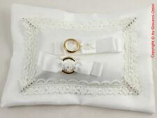 Cuscinetto Cuscino Portafedi Rettangolare Seta in Raso Pizzo Strass Matrimonio