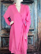 NEW SHADOWLINE Before Bed ELEGANT SOLID PINK KIMONO Wrap Robe SZ L #67223