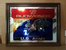 BUDWEISER SALUTES THE U.S. ARMY FRAMED BAR MIRROR Man Cave Bar Military