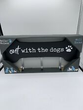 Belle Maison Out With The Dogs Wall Hooks-Black Wooden Bone-Leash Storage BNIB