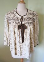 Sundance Catalog Ivory Embroidered Paisley Boho Top SMALL S Cream Brown Corduroy