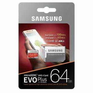 Samsung Plus 64GB micro SD SDXC class 10 memory  card U3 Class 10
