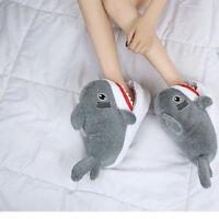 Cute Shark Cotton Slippers Women's Indoor Shoes Warm Slippers Men's Slipper Snow