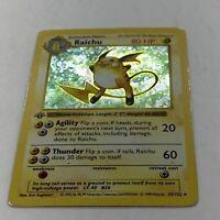 Raichu Holo 1st Edition Shadowless Base Set Played 14/102 Pokemon Wotc 1999