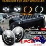 "1PCS 7""INCH 200W LED Headlight Hi/Lo Halo Ring DRL For Jeep Wrangler CJ JK TJ LJ"