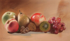 Still Life with fruits Pastel Painting Signed