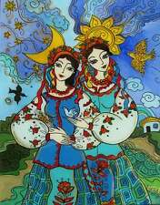 Ukrainian Folk Art by Elena Diadenko, Print, Sisters or Day and Night