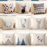 Decor Pillow Case Home Linen Geometry Cotton Cover Cushion Deer Nordic Throw