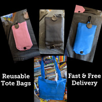 Reusable Fold Away Fabric Shopping Bag Carrier with trolley token & Belt Clip