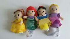Disney Store Princess Plush Finger Puppets Rapunzel Belle, Snow White Ariel x4