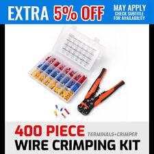 Electrical Wire Terminal Kit Cutter Stripper Plier Crimper + 400Pc Connectors