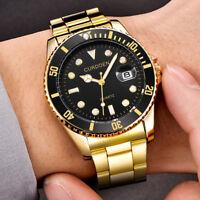 Men Fashion Military Stainless Steel Watch Date Sport Quartz Analog Wrist Watch