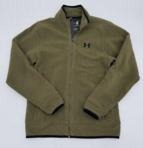Under Armour Full Zip Fleece Jacket Men's M Olive Green Warm