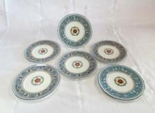 "6 Pc Wedgwood Florentine Turquoise Blue Dessert Plates 7"""