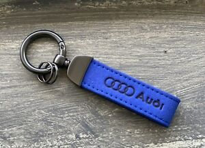NEW AUDI KEYCHAIN/KEYRING BLUE SUEDE LEATHER A4,A5,A6,A7,A8,S4,S5,S6,Q5,Q7