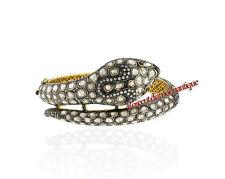 Polki Wedding Wear Snake Design Bracelet Victorian Rose Cut Diamond 5.42ct Ruby
