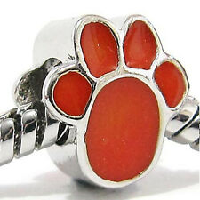 Wholesale 20pcs Orange Dog Paw Silver Enamel European Bracelet Charm Beads D493