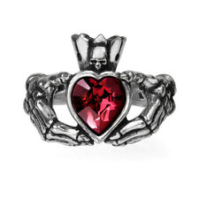 Alchemy Gothic Pewter Claddagh by Night Red Crystal Heart Skull Ring R210 T