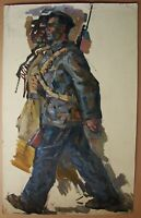 Russian Ukrainian Soviet Oil Painting realism male figure man soldier portrait