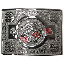 Scottish Highland Kilt Belt Buckle Celtic Knot Work High Quality Chrome Finish