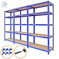 Garage Shelves 5 Tier Metal Shelving Heavy Duty Storage Racking Boltless 3 Bay