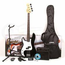 Encore E4 Bass Guitar Full Size Kit Package - Left Handed - Black