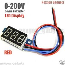 DC 0-200V Portable Digital Voltmeter Red LED Display Digital Car Panel Meter