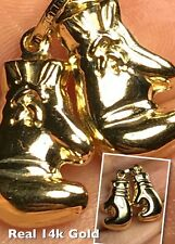 """GOLD Double Boxing Glove Pendant 14K charm necklace Yellow .65"""" 2.2g"""