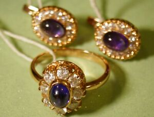 Soviet Exquisite Set Earrings & Ring Rose Gold Cubic Zirconia, Amethyst Cabochon