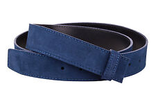 "Blue Belt Strap Italian Suede leather Women Mens belts 1.3"" dunhill buckles 36"""