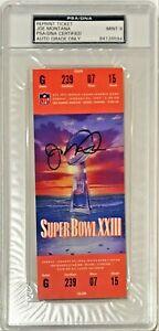 1989 Super Bowl XXIII 23 Joe Montana Signed Replica Ticket PSA/DNA Auto Grade 9