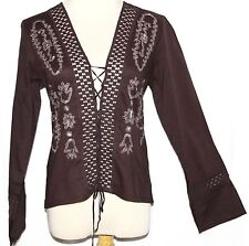 S Cotton Renaissance Boho Gypsy Hippie Peasant Embroidered Top Blouse Tunic