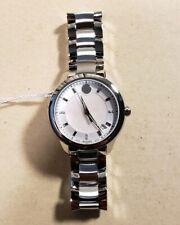 Movado 0606978 Bellina Diamond Watch With 36mm Pearl Face & Silver Breclet