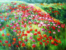"""Floral & Gardens Oil Painting - Poppies I I - size 36""""x28"""""""