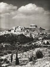 1934 Vintage GREECE Athens Acropolis Parthenon Landscape Art By HURLIMANN 11x14