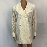 Vintage Boulevard De Paris Womens White Lace Blazer Coat Size 14 NEW Gothic Goth