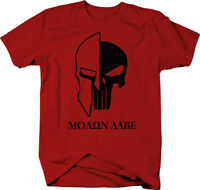 Punisher Skull Molon Labe Spartan Helmet Military  Color T-Shirt