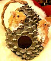 8 inch Adorable Resin Pinecone and Squirrels Indoor/Outdoor Birdhouse Rope Hang
