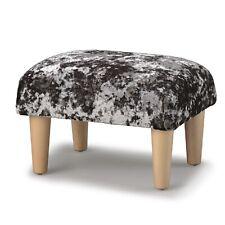 Biagi Upholstery & Design Flint Grey Chenille Velvet Footstool on Wood Legs