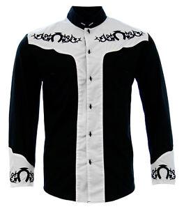 Men's Charro Shirt Camisa Charra El General Western Wear Color Black/White/Black