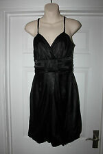 Ladies Black Soft Satin Dress Size 10 By Bay Wet Look/ Shimmer Party