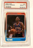 1988-89 Fleer #43 Dennis Rodman Pistons PSA 8 RC Rookie LAST DANCE BULLS Jordan