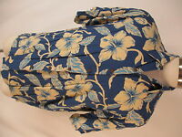 Reyn Spooner Vtg Mens Blue Floral Rayon Hawaiian Shirt L