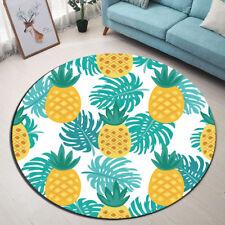 Cartoon Design Tropical Monstera Pineapple Round Floor Mat Living Room Area Rugs