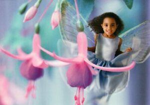 Beautiful Little Garden Fairy Pixie Black African American Hallmark Postcard