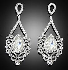 Women Wedding Earrings White Rhinestone Glass Crystal Long Drop Dangle Earring