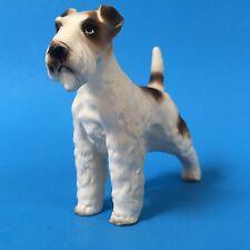 Fox Terrier 3.5in Ceramic Figure Standing Dog Figurine Vtg Matte White Hair