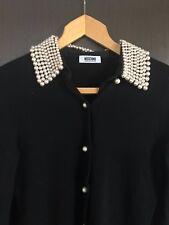 MOSCHINO Gilet noir laine/cachemire perlé col +boutonnière T 38 FR parfait état