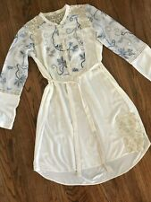 Tiny Brand Anthropologie Ivory Embroidered Floral Belted Tunic Shirt Dress XL