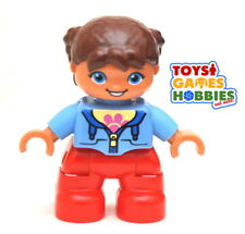 *NEW* LEGO DUPLO Small Child Girl Figure Minifigure Braids Blue Shirt Brown Hair
